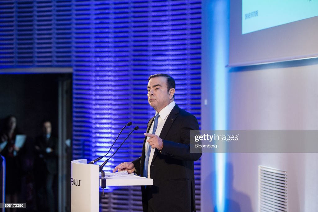 Carlos Ghosn, chairman of Renault SA, gestures as he speaks during a news conference to announce the automaker's strategic plan in Paris, France, on Friday, Oct. 6, 2017. Renaultraised mid-term sales and earnings targets as part of the French carmakers plan to protect its leadership inbattery-powered autos and keep pace with rivals in driverless models. Photographer: Marlene Awaad/Bloomberg via Getty Images