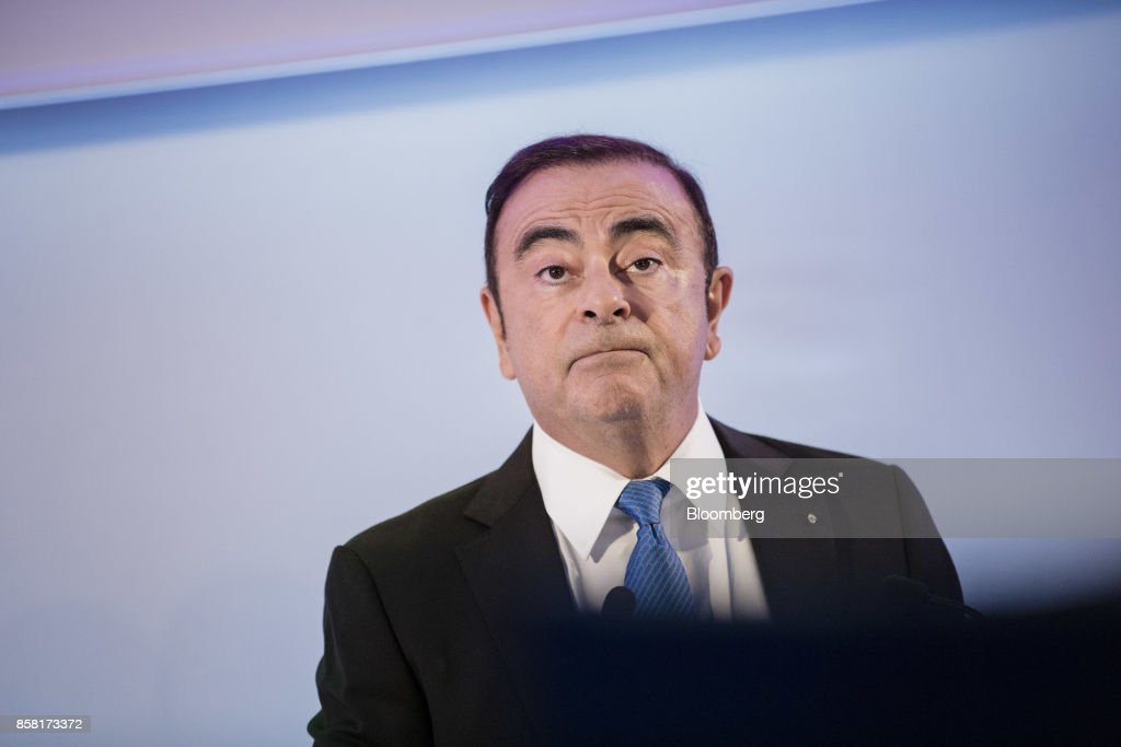 Carlos Ghosn, chairman of Renault SA, pauses during a news conference to announce the automaker's strategic plan in Paris, France, on Friday, Oct. 6, 2017. Renaultraised mid-term sales and earnings targets as part of the French carmakers plan to protect its leadership inbattery-powered autos and keep pace with rivals in driverless models. Photographer: Marlene Awaad/Bloomberg via Getty Images