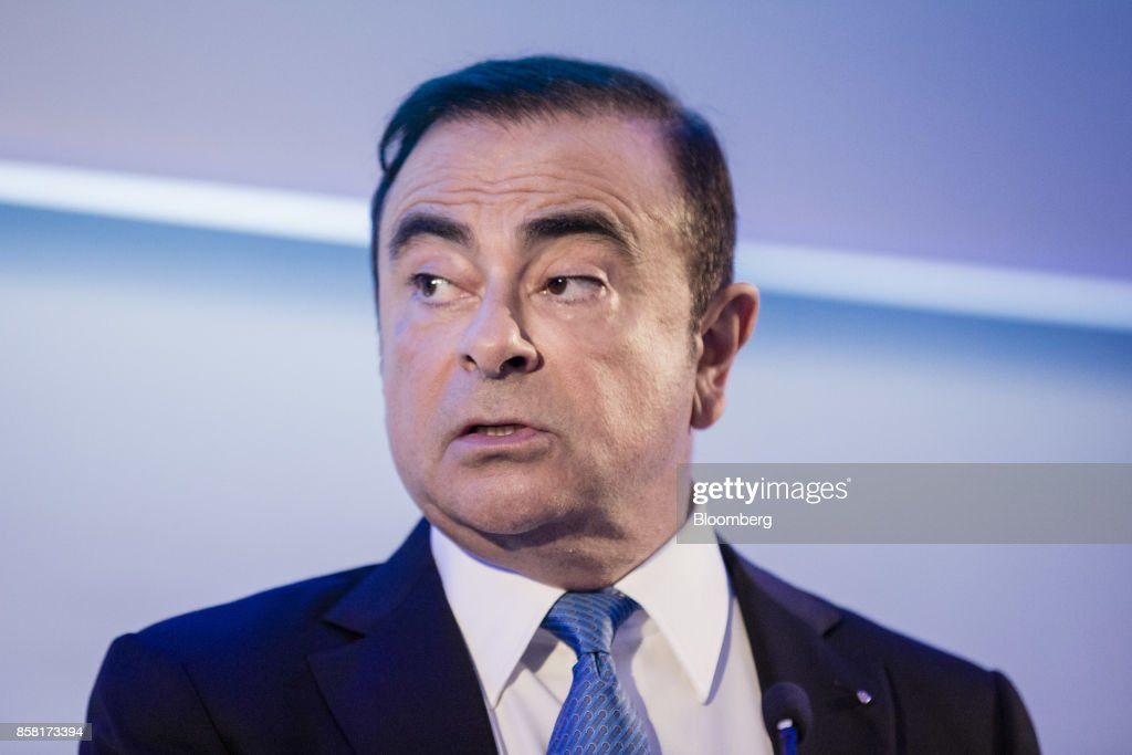 Carlos Ghosn, chairman of Renault SA, speaks during a news conference to announce the automaker's strategic plan in Paris, France, on Friday, Oct. 6, 2017. Renault raised mid-term sales and earnings targets as part of the French carmakers plan to protect its leadership in battery-powered autos and keep pace with rivals in driverless models. Photographer: Marlene Awaad/Bloomberg via Getty Images