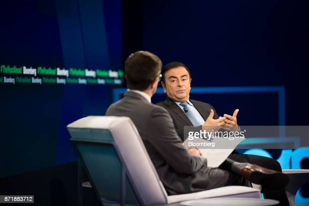 Carlos Ghosn chairman of the alliance between Renault SA Nissan Motor Co and Mitsubishi Motors Corp speaks during the Bloomberg Year Ahead Conference...