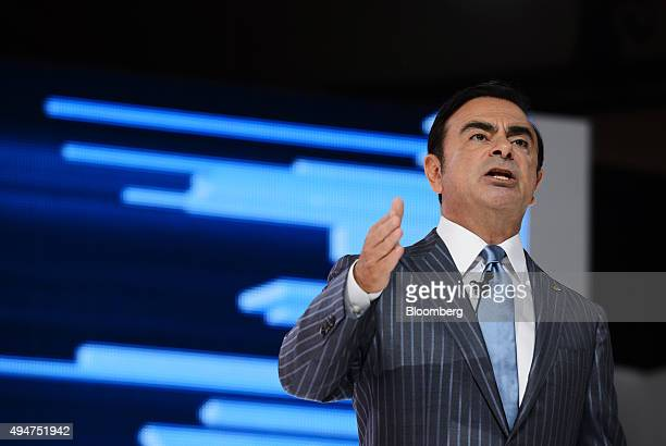 Carlos Ghosn chief executive officer of Nissan Motor Co and Renault SA speaks at the Tokyo Motor Show in Tokyo Japan on Wednesday Oct 28 2015 Toyota...