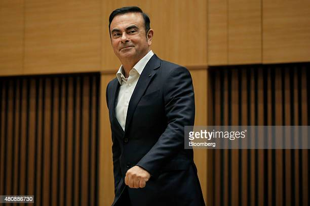 Carlos Ghosn chief executive officer of Nissan Motor Co arrives to deliver a lecture at a luncheon hosted by the Japan Chamber of Commerce and...