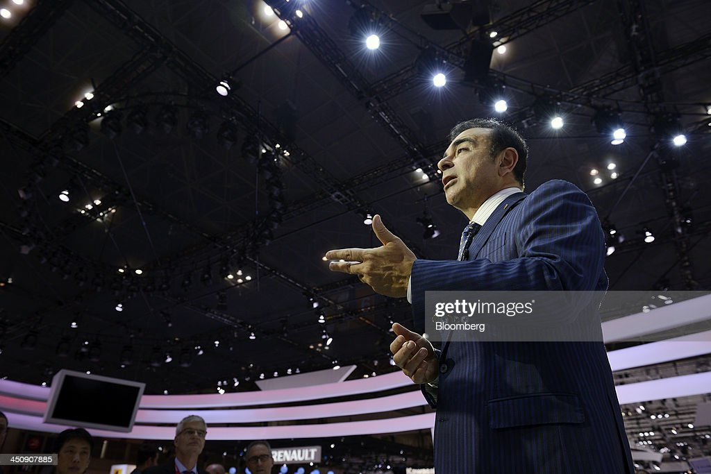 <a gi-track='captionPersonalityLinkClicked' href=/galleries/search?phrase=Carlos+Ghosn&family=editorial&specificpeople=215025 ng-click='$event.stopPropagation()'>Carlos Ghosn</a>, chief executive officer of Nissan Motor Co., speaks during an interview at the 43rd Tokyo Motor Show 2013 in Tokyo, Japan, on Wednesday, Nov. 20, 2013. Ghosn said consumers wont take to fuel-cell vehicles before the decades end, joining Tesla Motors Inc.s Elon Musk in questioning the future of hydrogen-powered cars. Photographer: Akio Kon/Bloomberg via Getty Images