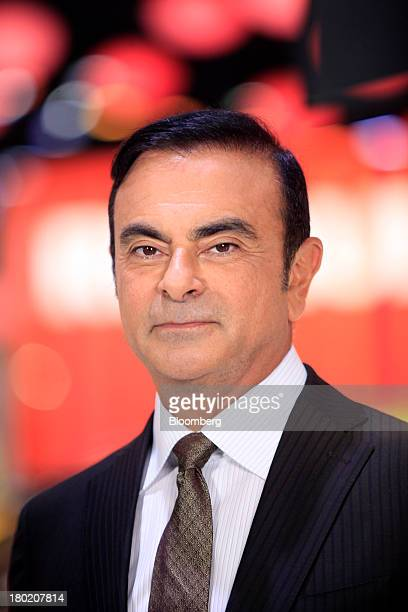 Carlos Ghosn chief executive officer of Renault SA and Nissan Motor Co poses for a photograph following an interview at the 65th Frankfurt...