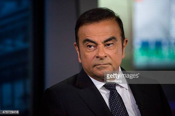Carlos Ghosn chief executive officer of Renault SA and Nissan Motor Co waits to start an interview in New York US on Wednesday June 3 2015 Ghosn...