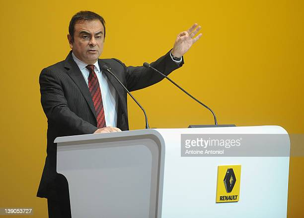 Carlos Ghosn chief executive officer of Renault speaks during a news conference on February 16 2012 in Paris France French car manufacturer Renault...
