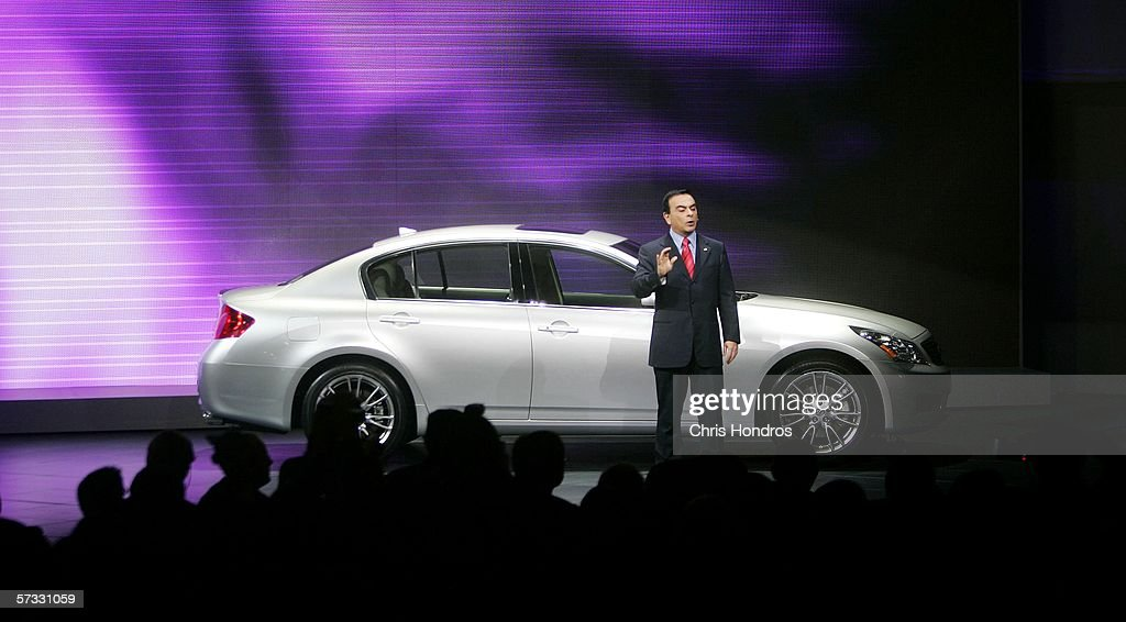 Carlos Ghosn President and CEO of Nissan Motor Company introduces the 2007 Infiniti G35 sedan during the press preview of the 2006 New York...