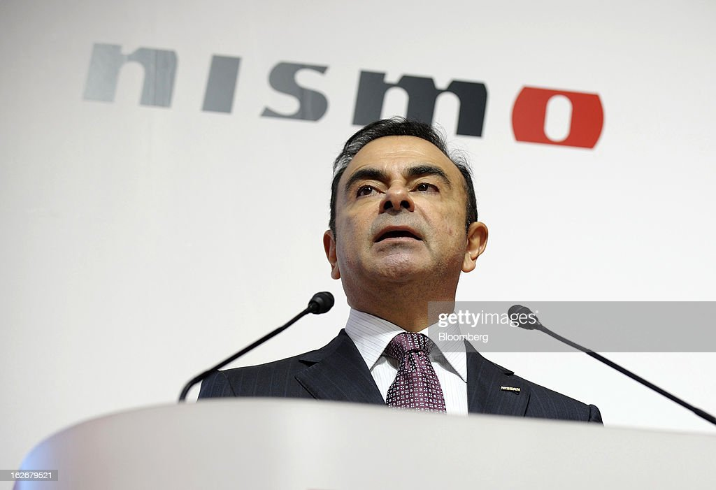 <a gi-track='captionPersonalityLinkClicked' href=/galleries/search?phrase=Carlos+Ghosn&family=editorial&specificpeople=215025 ng-click='$event.stopPropagation()'>Carlos Ghosn</a>, president and chief executive officer of Nissan Motor Co., speaks at the opening of the Nismo global headquarters and development center in Yokohama City, Japan, on Tuesday, Feb. 26, 2013. Ghosn, who has called 100 yen to the dollar the 'neutral' value for the Japanese currency, said the yen should weaken further. Photographer: Akio Kon/Bloomberg via Getty Images