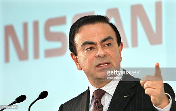 Carlos Ghosn president and chief executive officer of Nissan Motor Co speaks during a news conference at the company headquarters in Yokohama Japan...