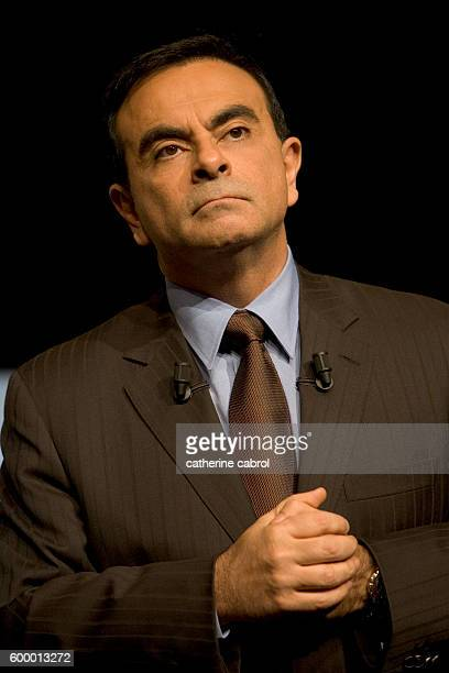 Carlos Ghosn President of car manufacturers Renault unveils his strategy plan entitled 'Contrat 2009' aimed at making the group the most profitable...