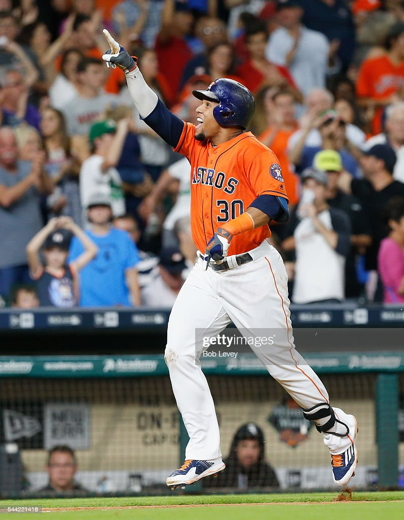 Carlos Gomez #30 of the Houston Astros celebrates his two-run home run in the seventh inning against the Chicago White Sox at Minute Maid Park on July 1, 2016 in Houston, Texas.