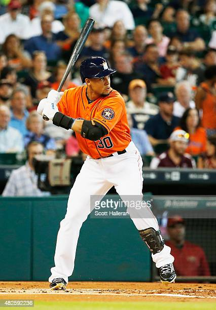 Carlos Gomez of the Houston Astros waits for a pitch in the first inning during their game against the Arizona Diamondbacks at Minute Maid Park on...