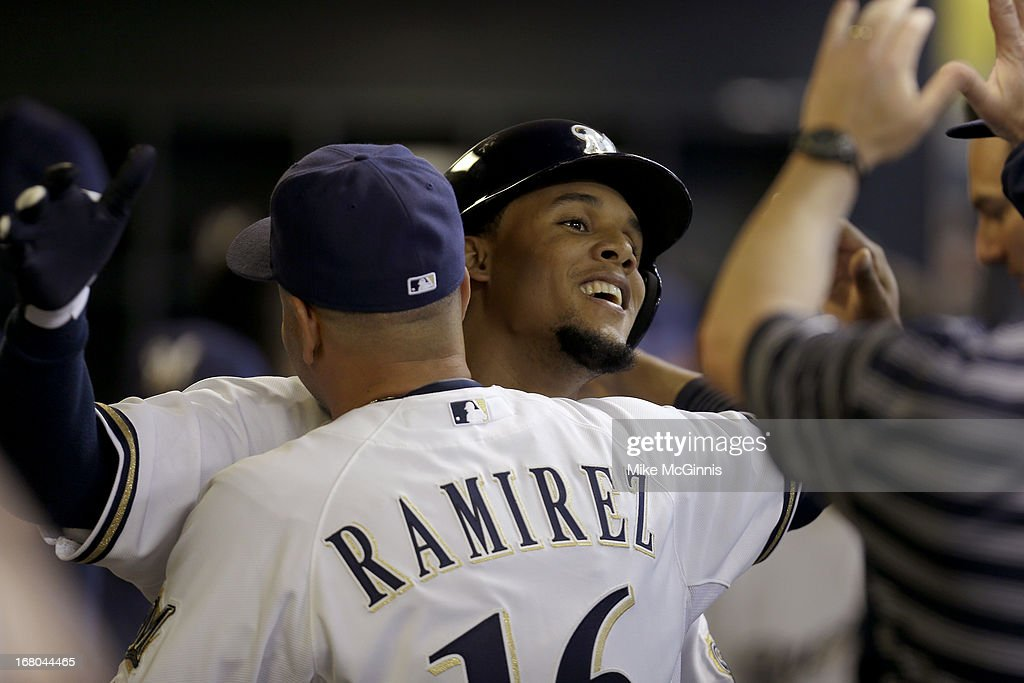 Carlos Gomez #27 of the Milwaukee Brewers celebrates in the dugout with Aramis Ramirez #16 after hitting a solo home run in the bottom of the sixth inning against the St. Louis Cardinals at Miller Park on May 04, 2013 in Milwaukee, Wisconsin.