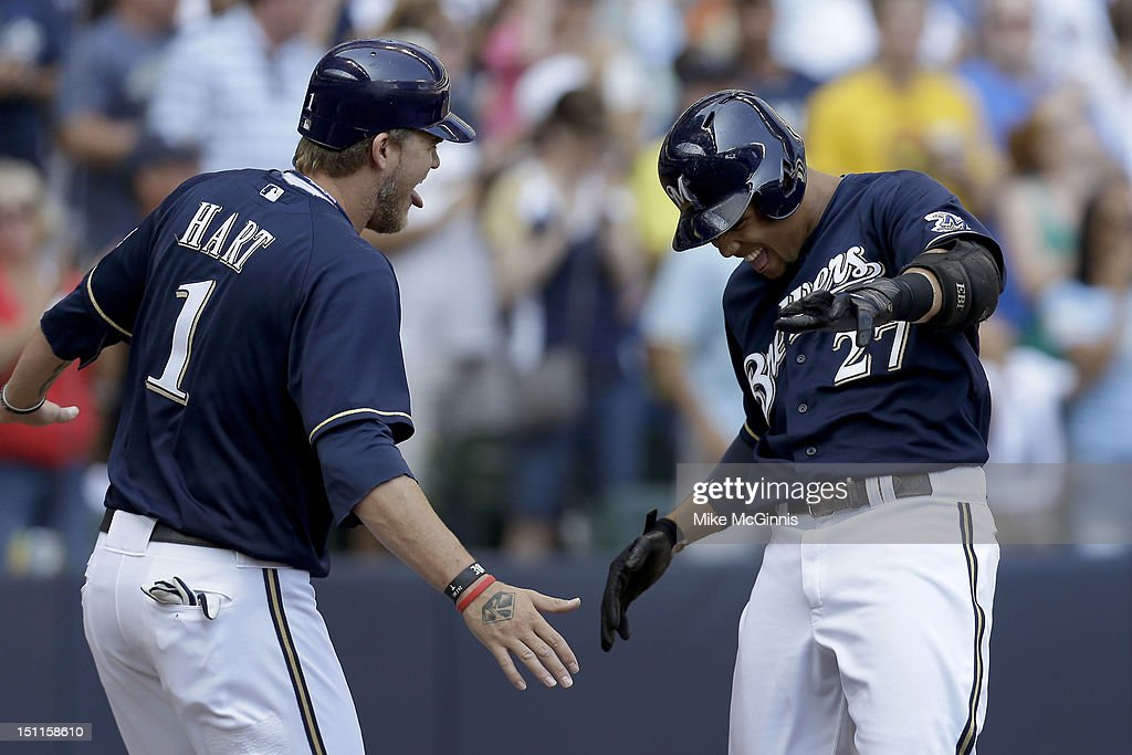 Carlos Gomez #27 of the Milwaukee Brewers celebrates with Corey Hart #1 after hitting a two run homer scoring Hart in the bottom of the 3rd inning against the Pittsburgh Pirates at Miller Park on September 02, 2012 in Milwaukee, Wisconsin.