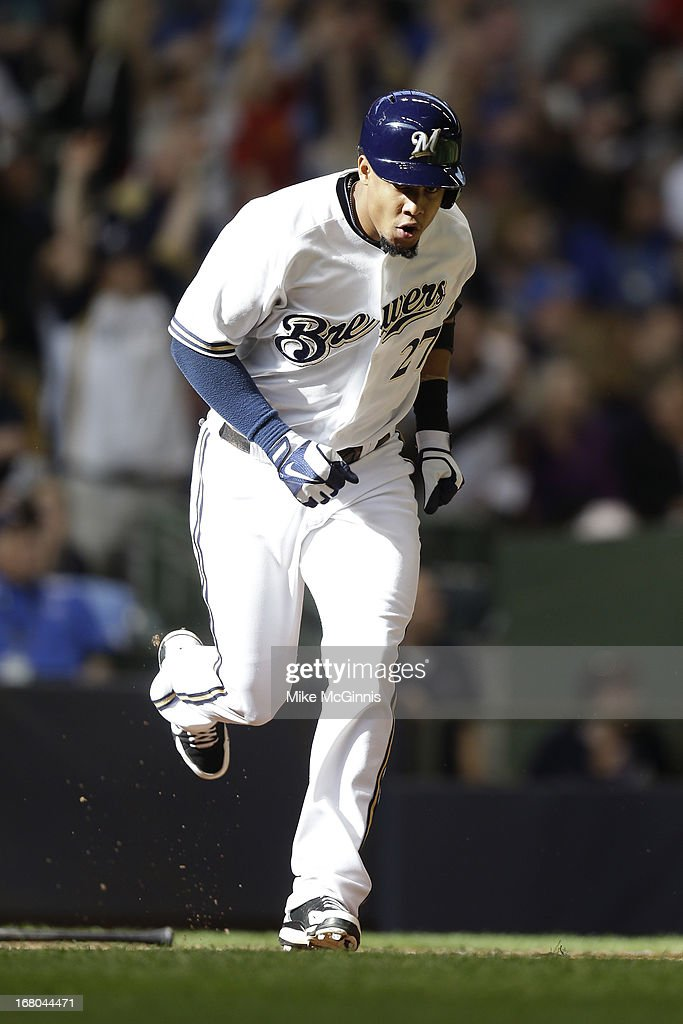 Carlos Gomez #27 of the Milwaukee Brewers runs the bases after hitting a solo home run in the bottom of the sixth inning against the St. Louis Cardinals at Miller Park on May 04, 2013 in Milwaukee, Wisconsin.