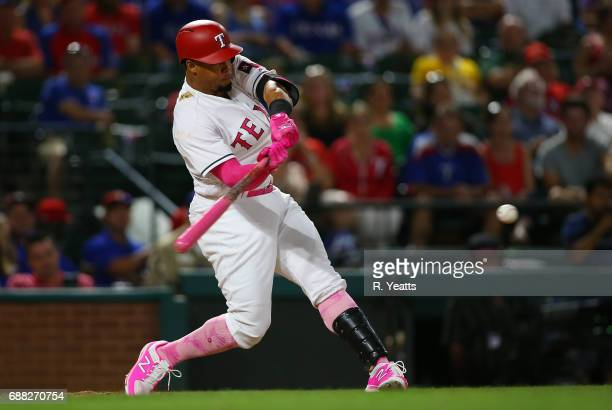 Carlos Gomez of the Texas Rangers hits in the eight inning against the Oakland Athletics at Globe Life Park in Arlington on May 13 2017 in Arlington...