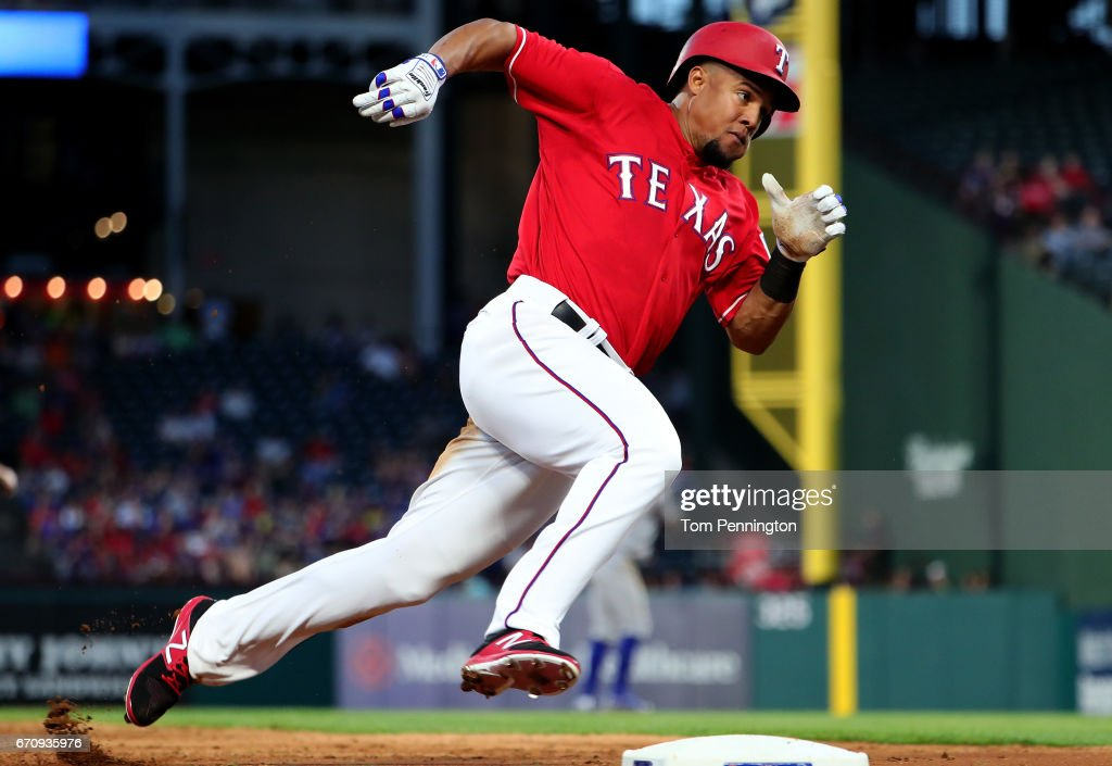 Carlos Gomez #14 of the Texas Rangers rounds third base against the Kansas City Royals in the bottom of the third inning at Globe Life Park in Arlington on April 20, 2017 in Arlington, Texas.