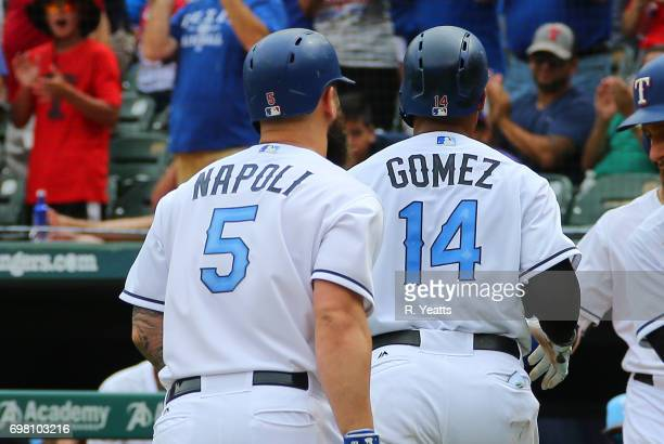 Carlos Gomez of the Texas Rangers walk back to the dugout on Mike Napoli home run in the sixth inning against the Seattle Mariners at Globe Life Park...