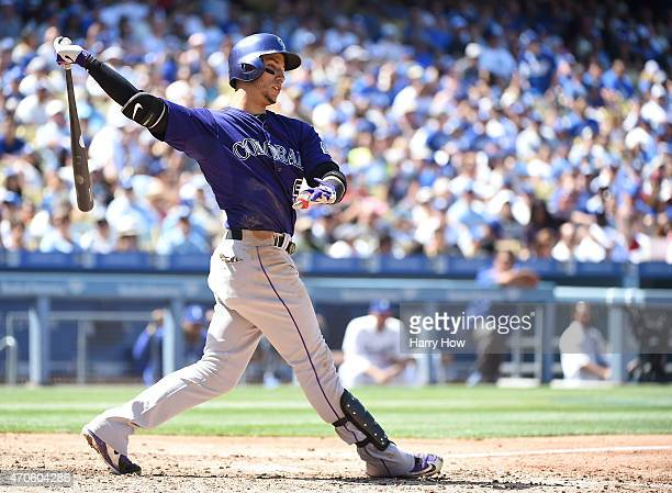 Carlos Gonzalez of the Colorado Rockies at bat against the Los Angeles Dodgers at Dodger Stadium on April 19 2015 in Los Angeles California The...