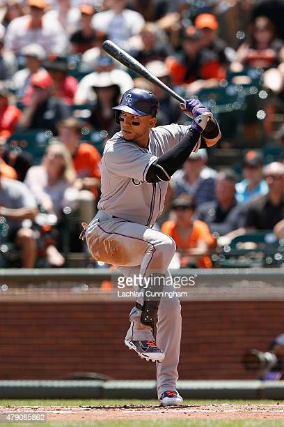Carlos Gonzalez of the Colorado Rockies at bat in the third inning against the San Francisco Giants at ATT Park on June 28 2015 in San Francisco...