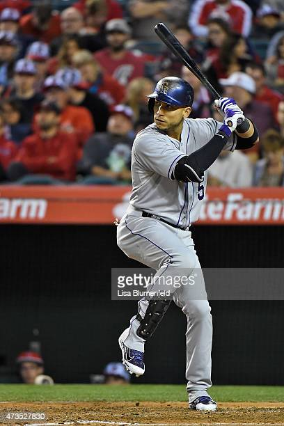 Carlos Gonzalez of the Colorado Rockies bats against the Los Angeles Angels of Anaheim at Angel Stadium of Anaheim on May 13 2015 in Anaheim...