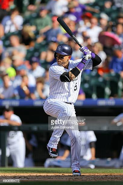 Carlos Gonzalez of the Colorado Rockies bats against the Los Angeles Dodgers at Coors Field on September 27 2015 in Denver Colorado