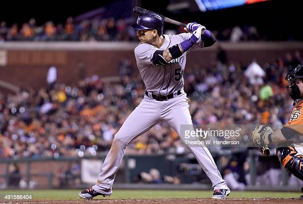Carlos Gonzalez of the Colorado Rockies bats against the San Francisco Giants in the top of the fourth inning at ATT Park on October 2 2015 in San...