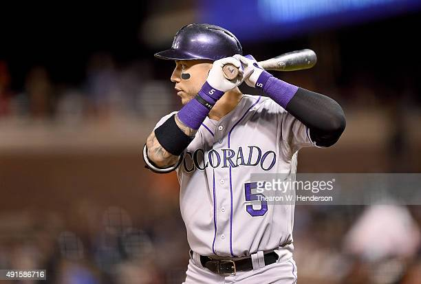 Carlos Gonzalez of the Colorado Rockies bats against the San Francisco Giants in the top of the third inning at ATT Park on October 2 2015 in San...