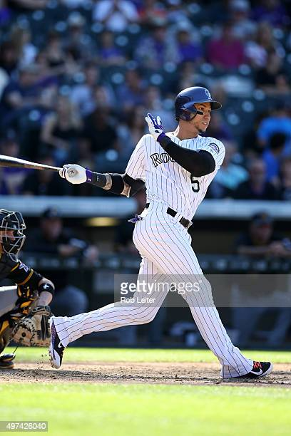 Carlos Gonzalez of the Colorado Rockies bats during the game against the Pittsburgh Pirates at Coors Field on September 24 2015 in Denver Colorado...