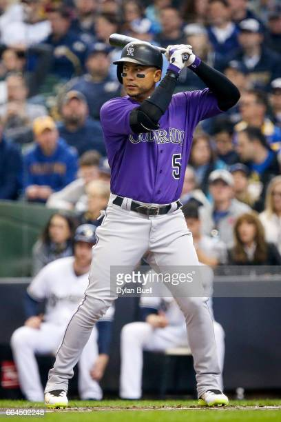 Carlos Gonzalez of the Colorado Rockies bats in the first inning against the Milwaukee Brewers of the MLB Opening Day game at Miller Park on April 3...