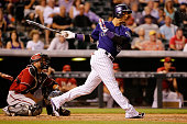 Carlos Gonzalez of the Colorado Rockies hits a grand slam home run off of Keith Hessler of the Arizona Diamondbacks to take a 74 lead in the seventh...