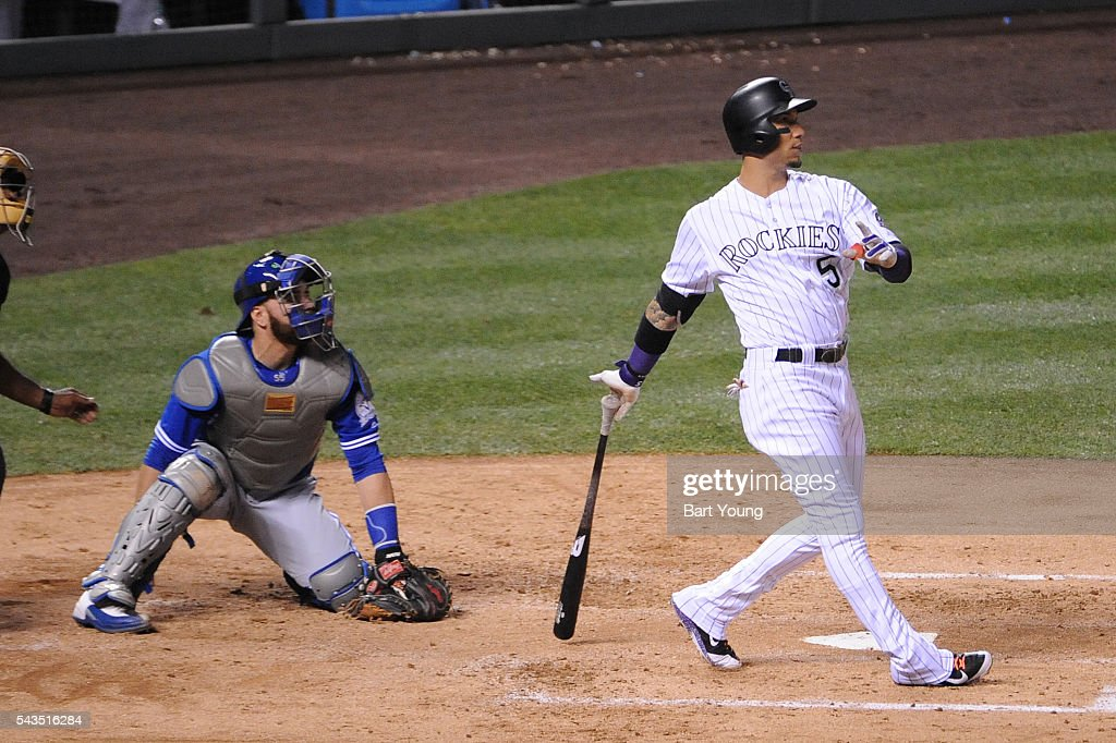 Carlos Gonzalez #5 of the Colorado Rockies hits a three run home run in the fourth inning against the Toronto Blue Jays at Coors Field on June 28, 2016 in Denver, Colorado. The Toronto Blue Jays defeat the Colorado Rockies 14-9.