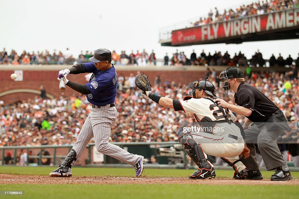 Carlos Gonzalez #5 of the Colorado Rockies in action against the San Francisco Giants at AT&T Park on June 5, 2011 in San Francisco, California.
