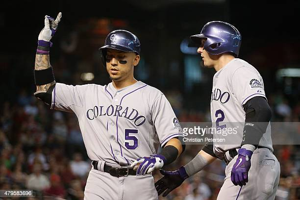 Carlos Gonzalez of the Colorado Rockies is congratulated by Troy Tulowitzki after Gonzalez hit a tworun home run against the Arizona Diamondbacks...