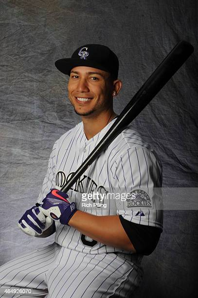 Carlos Gonzalez of the Colorado Rockies poses for a portrait during Photo Day on March 1 2015 at Salt River Fields at Talking Stick in Scottsdale...