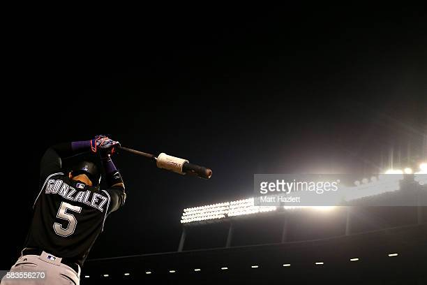 Carlos Gonzalez of the Colorado Rockies stands in the on deck circle during the eighth inning against the Baltimore Orioles at Oriole Park at Camden...