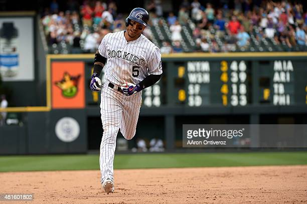 Carlos Gonzalez of the Colorado Rockies ties the game at 88 with a tworun home run against the Texas Rangers during the Rangers' 108 win The Colorado...