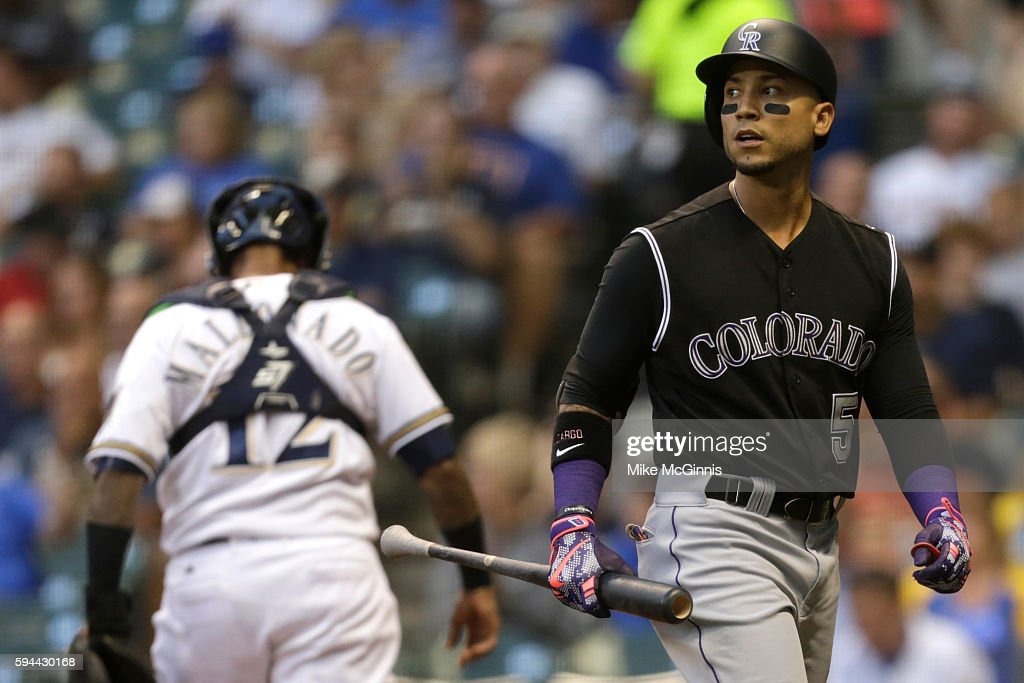 Carlos Gonzalez of the Colorado Rockies walks to the dugout after striking out during the second inning against the Milwaukee Brewers at Miller Park...