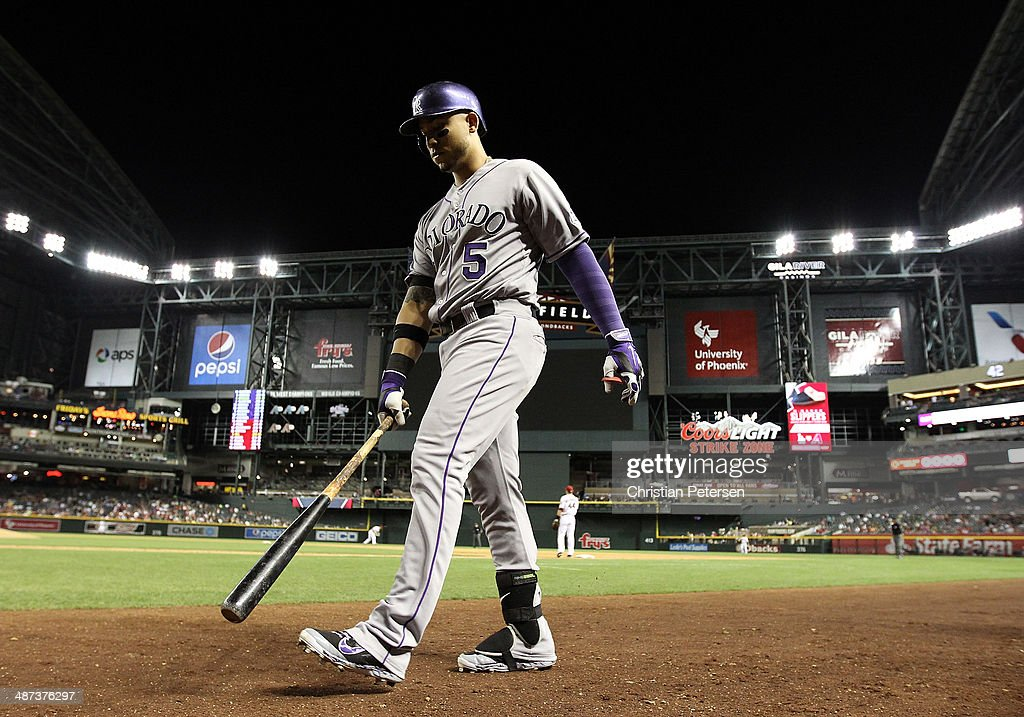 Carlos Gonzalez #5 of the Colorado Rockies walks up to the plate to bat against the Arizona Diamondbacks during the MLB game at Chase Field on April 29, 2014 in Phoenix, Arizona.