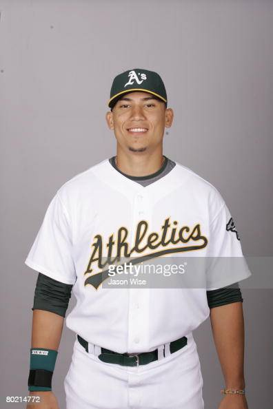 Carlos Gonzalez of the Oakland Athletics poses for a portrait during photo day at Phoenix Municipal Stadium on February 25 2008 in Phoenix Arizona