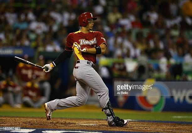 Carlos Gonzalez of Venezuela in action against the Dominican Republic during the first round of the World Baseball Classic at Hiram Bithorn Stadium...