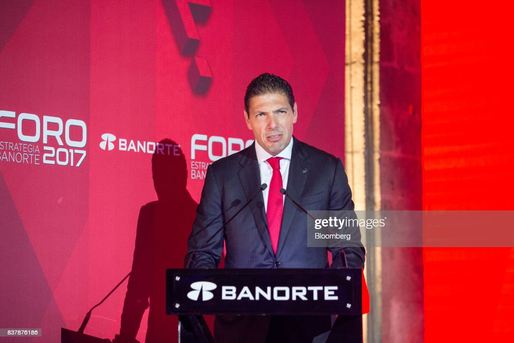 Carlos Hank Gonzalez, chairman of Grupo Financiero Banorte SAB, speaks during a reception following the Banorte Strategy Annual forum in Mexico City, Mexico, on Tuesday, Aug. 22, 2017. The sixth annual meeting was titled, 'A Strong Mexico, In The Future Of Mexico.' Photographer: Brett Gundlock/Bloomberg via Getty Images