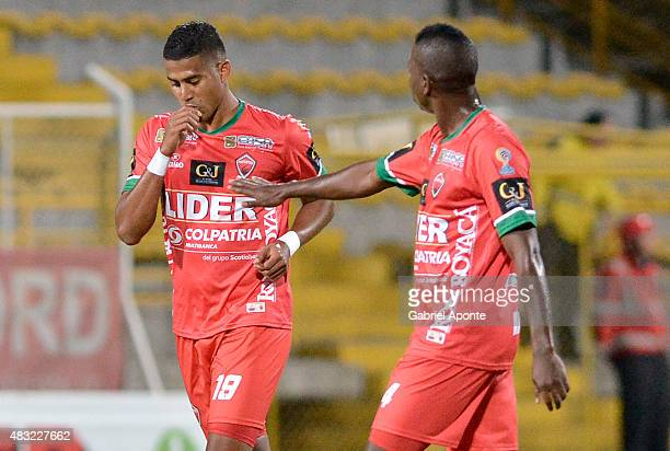 Carlos Henao of Patriotas FC celebrates after scoring the first goal of his team during a match between Patriotas FC and Millonarios as part of Liga...