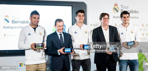 Carlos Henrique Casemiro Emilio Butragueno Ruben Yanez Sebastian Lancestremere and Alvaro Morata attend the presentation of the collaboration between...
