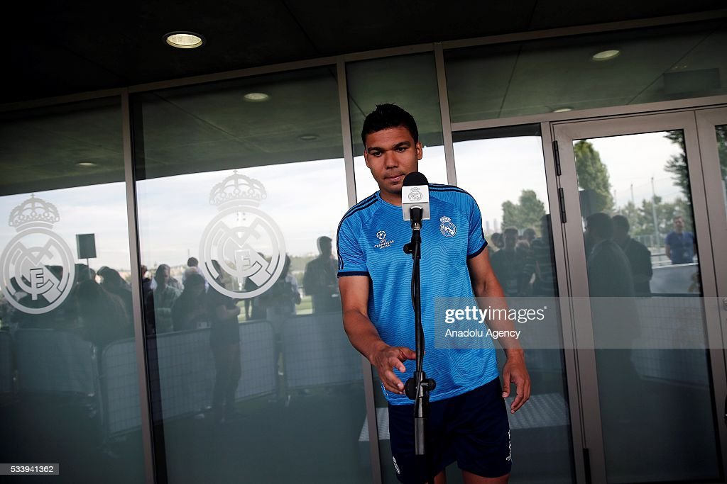 Carlos Henrique Casemiro of Real Madrid answers press members' questions during a press conference ahead of UEFA Champions League final football match between Atletico Madrid and Real Madrid CF in Madrid, Spain on May 24, 2016.