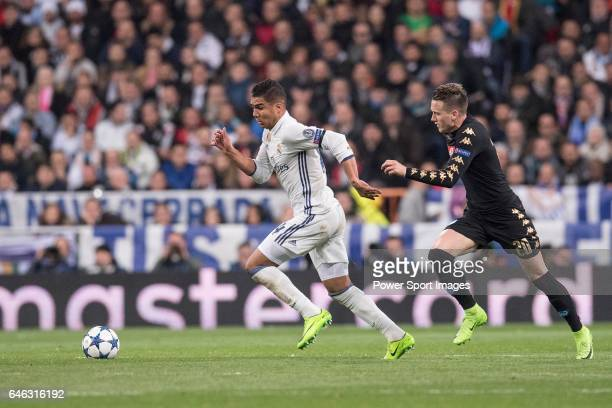 Carlos Henrique Casemiro of Real Madrid fights for the ball with Piotr Zielinski of SSC Napoli during the match Real Madrid vs Napoli part of the...