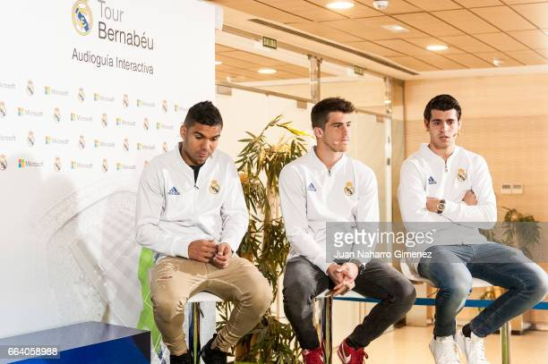 Carlos Henrique Casemiro Ruben Yanez and Alvaro Morata attend the presentation of the collaboration between Real Madrid and Microsoft for the first...
