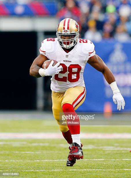 Carlos Hyde of the San Francisco 49ers in action against the New York Giants on November 16 2014 at MetLife Stadium in East Rutherford New Jersey The...