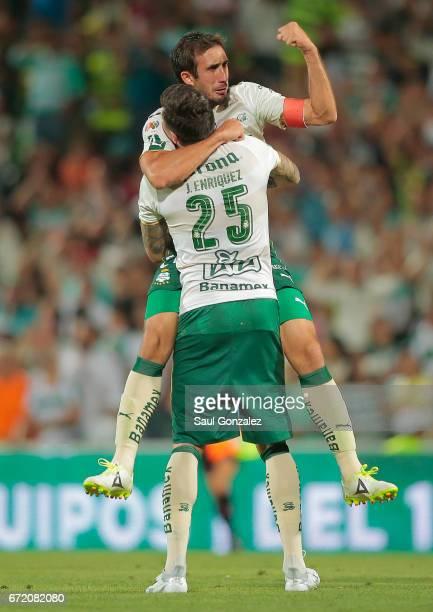 Carlos Izquierdoz and Jorge Enriquez of Santos celebrate during the match between Santos Laguna and America as part of the Torneo Clausura 2017 Liga...