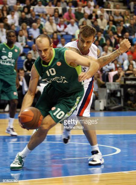 Carlos Jimene of Unicaja in action during the Euroleague Basketball Regular Season 20092010 Game Day 3 between Unicaja and Efes Pilsen Istanbul at...